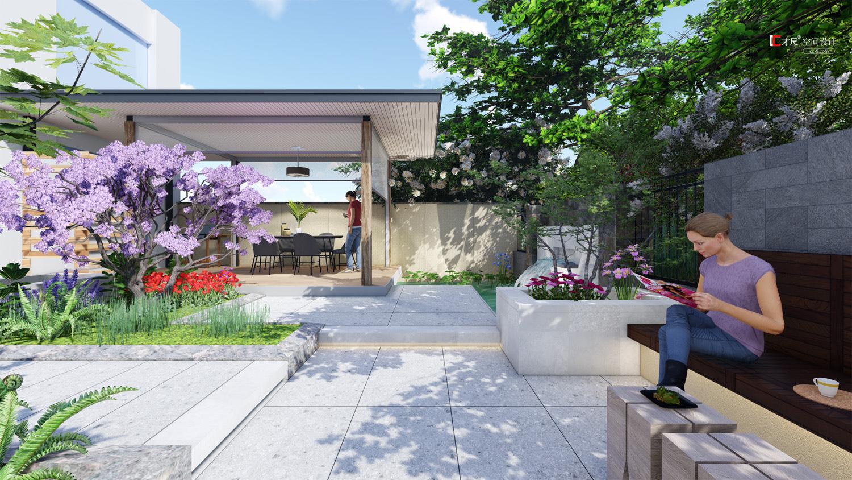 花園裝修,別墅一樓花園設計效果圖,