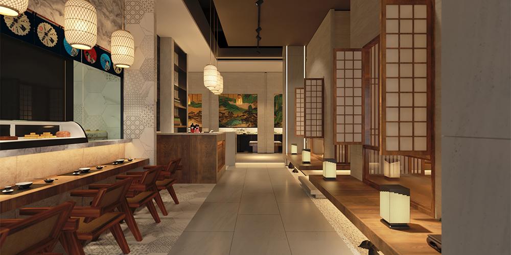 成都日式料理店裝修設計,唐辛子餐飲空間方案效果圖